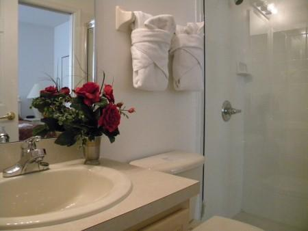Second bathroom, ensuite of second bedroom with kingsize bed.
