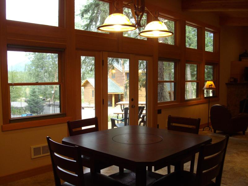 Dining Room with view through wall of windows