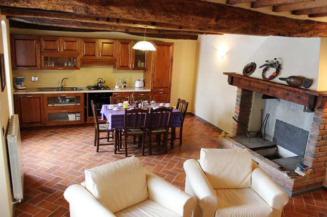 Living dining area, kitchenette and fireplace