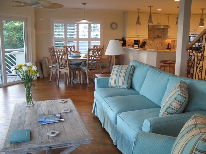living room with stunning beach views