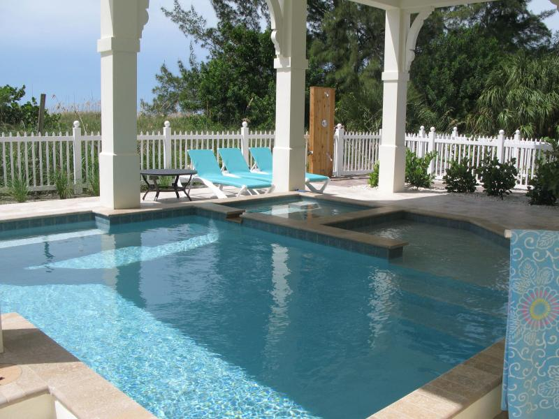 pool area  spa and child safe area outdoor shower and kitchen