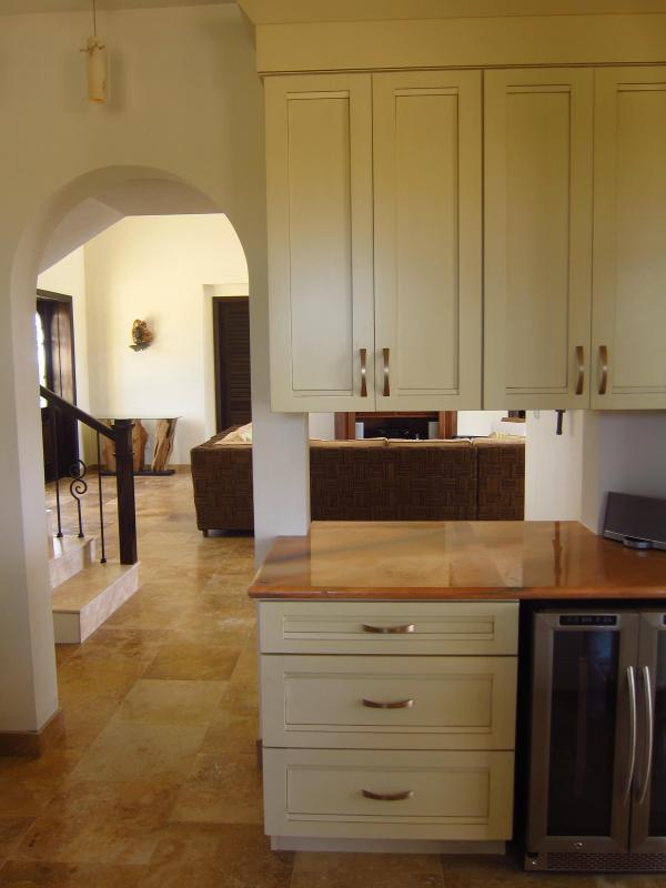 View from kitchen into great room