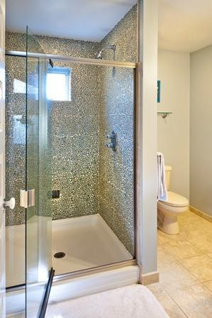 Iridescent glass pebble custom shower