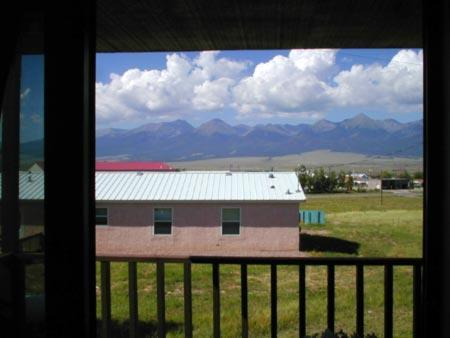 A view of the Sangre de Cristo Mountain from our deck..