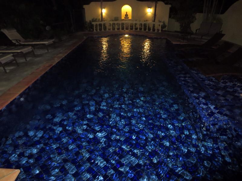 Zen-like ambiance of the pool at night