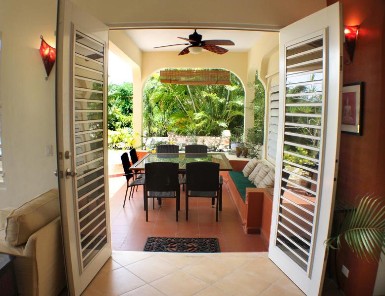 View from downstairs living room to our favorite dining spot in Vieques