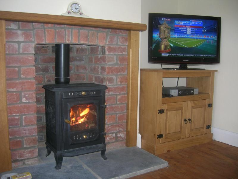 Log burner in the lounge and Flat Screen TV