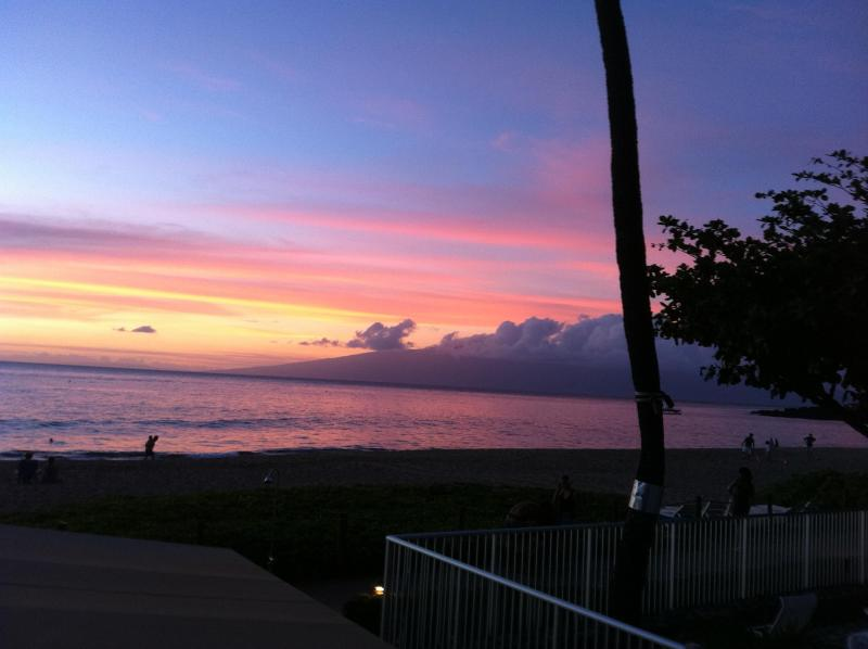 Sunset over Molokai as seen from our lanai at The Whaler on Kaanapali Vacation Rental
