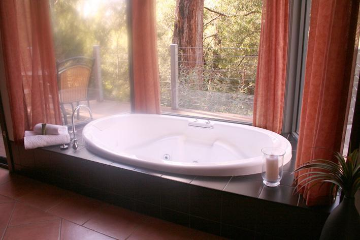 Spa in bay window with bushland views