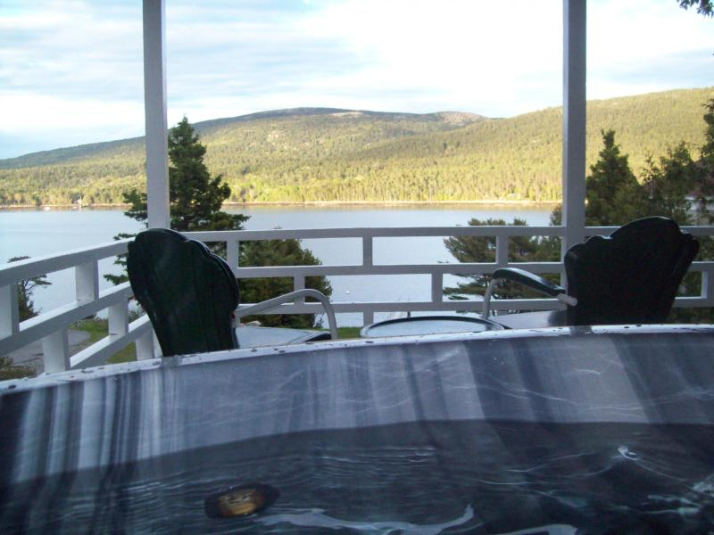 View of Somes Sound and Mountains of Acadia National Park from Hot Tub on Covered Wrap-Around Porch