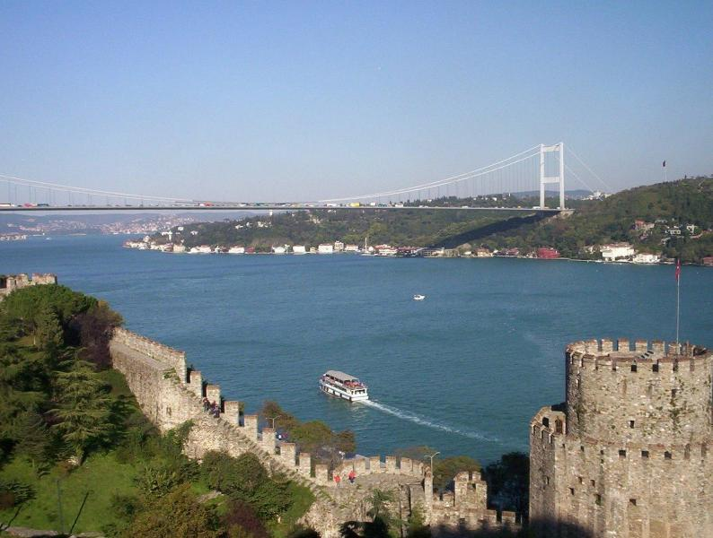 Within minutes downhill, European and Asian Shores connected by the Bosphorus Bridge