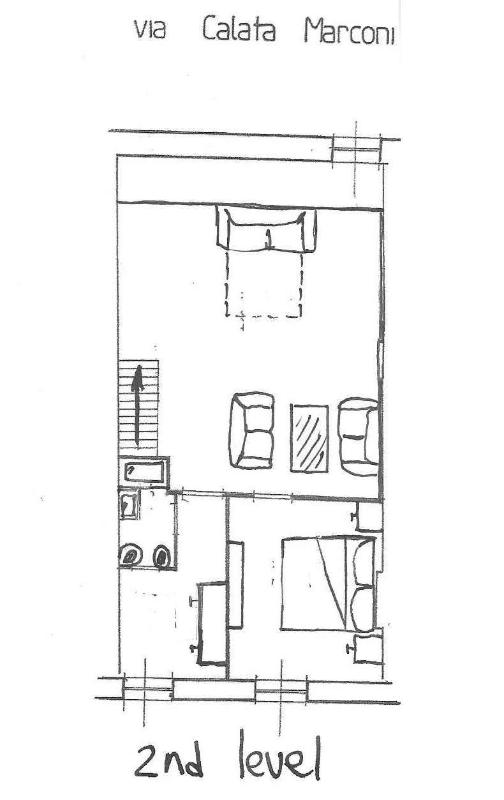 2nd floo: double bedroom, living room + sofa bed, bathroom, washer, access to the upper terrace.