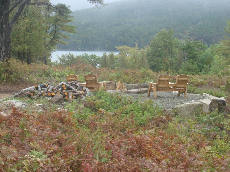 Huge Granite Fire Pit overlooking Somes Sound and mountains of Acadia National Park, wood provided!