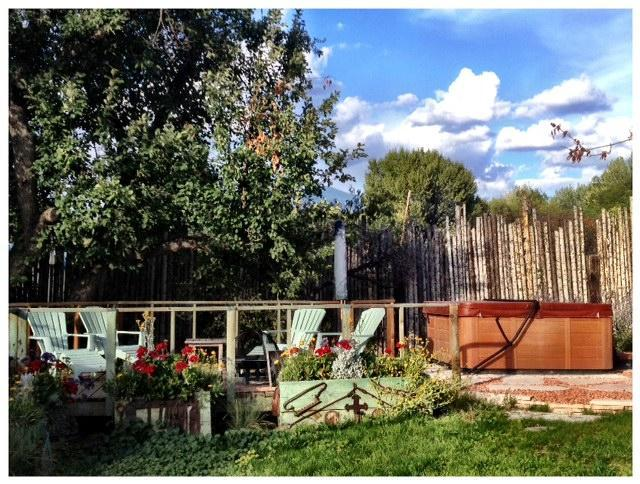 Deck, outdoor fireplace and ancient apple tree
