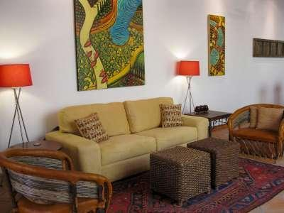 living room  with owners artwork