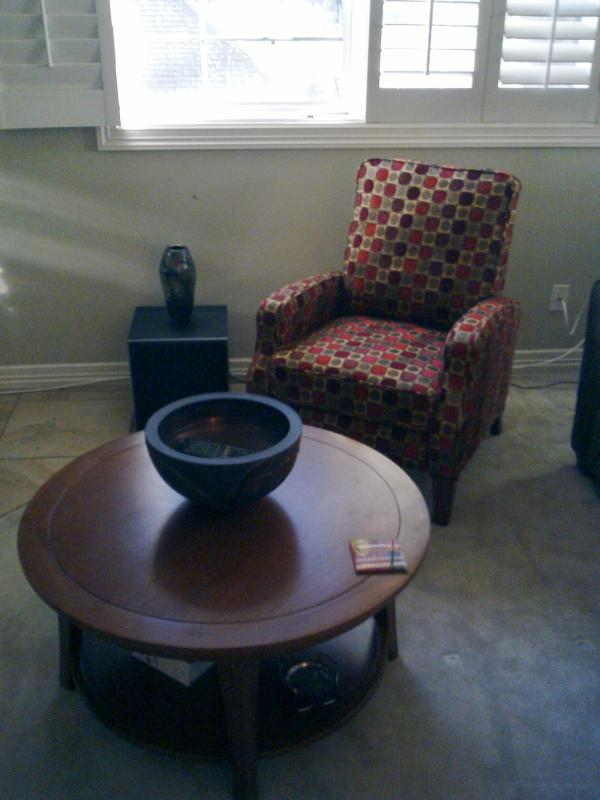 Comfy chair in sitting area
