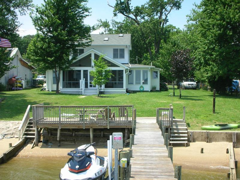 House from Dock, with Shoreline, Beach & Screened Porch