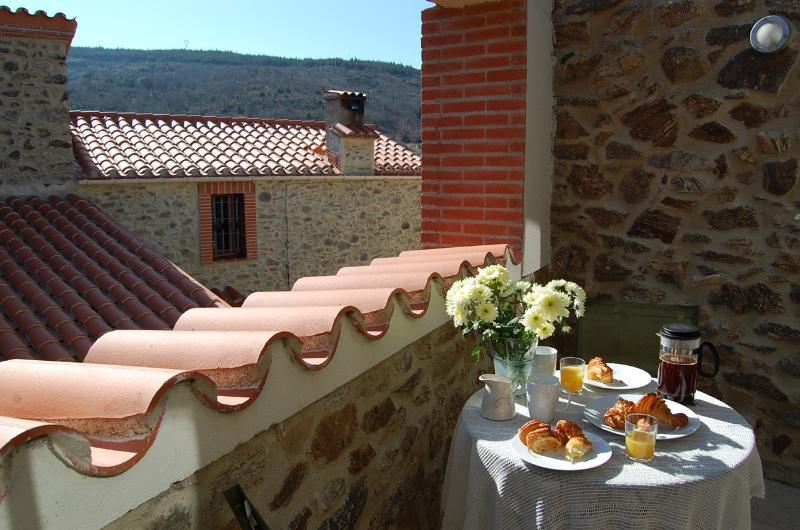 Breakfast on the terrace on a spring morning