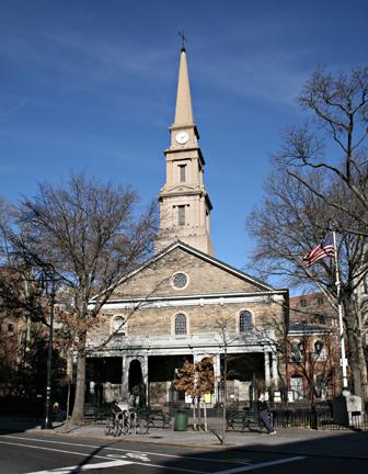 Historic St. Mark's Church atthe end of the block
