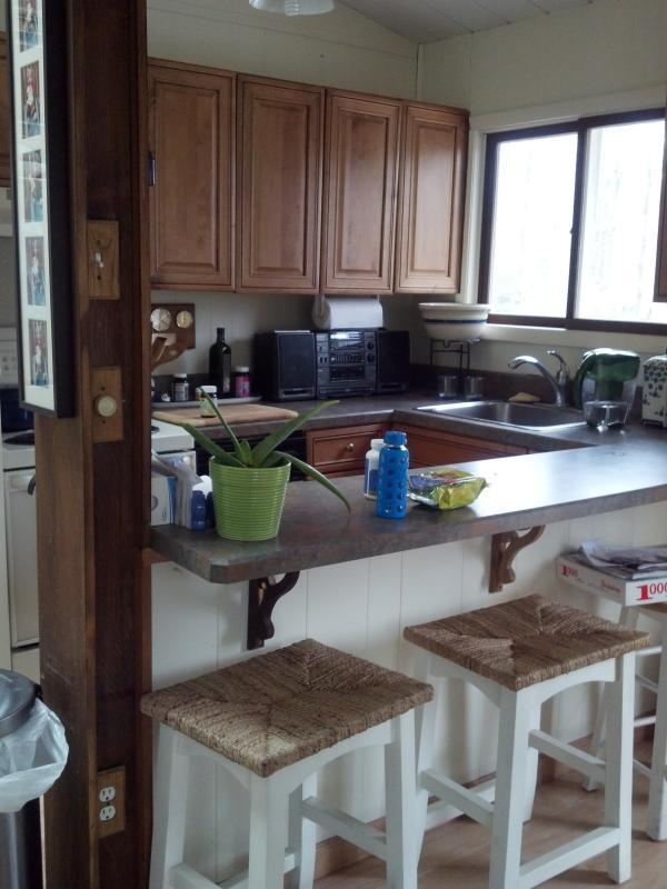 Zona de cocina contigua con taburetes