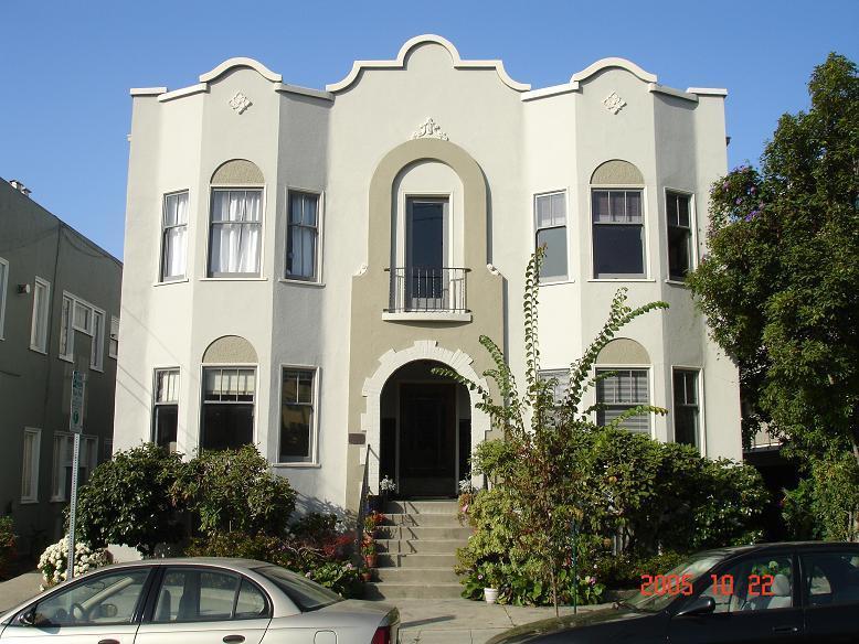 Classic, elegant stucco building.
