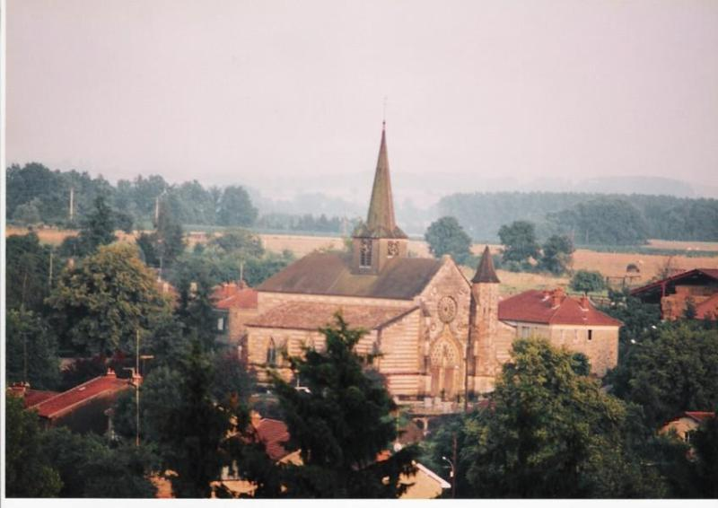 View from the chateau on village church of Villers