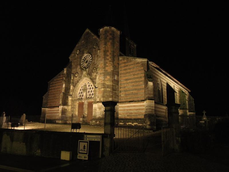 The 16th century village  church of  Villers en Argonne by night