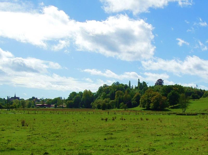 View on Villers church (front left) and Villers castle park (front right), taken from the little chapel, 12-9-011