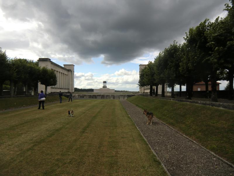 Dominating American WW I War Memorial at Vincennes with stunning views over former battle grounds;