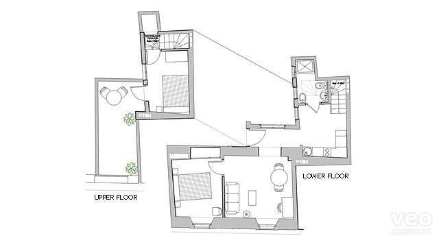 Plano terraza Magdalena: 55 m² + terraza | en segundo lugar, tercer pisos | sin ascensor