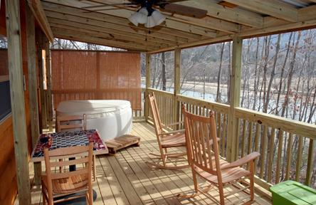 Porch overlooking Lake Lure with hot tub!