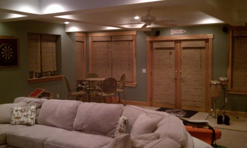 Family Room Open Area at night with blinds down