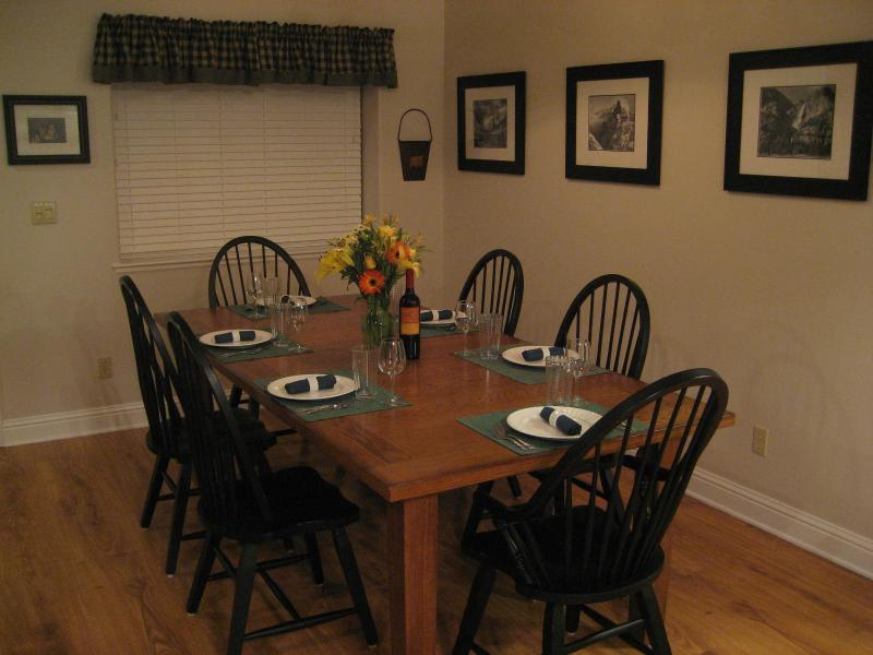 Large dining table to relax and enjoy a fine meal with family and friends