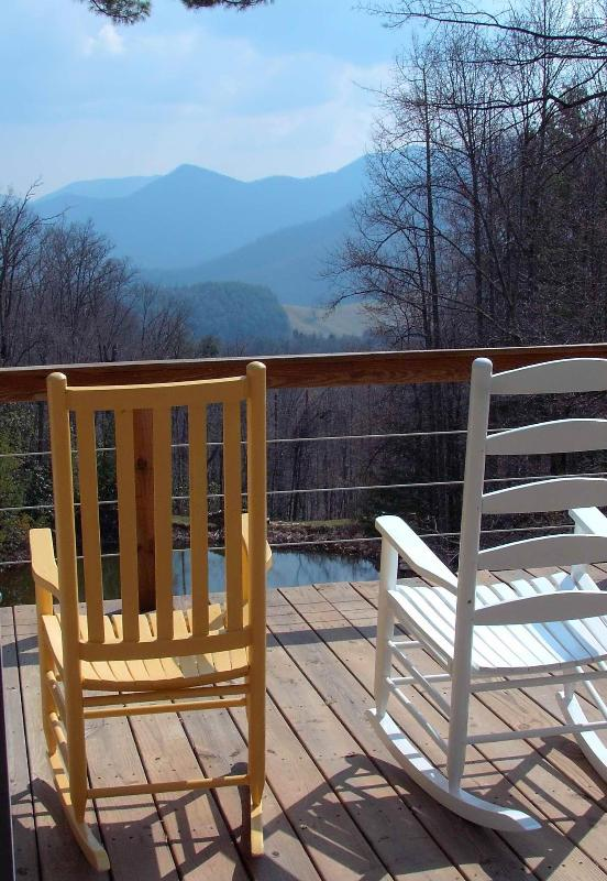Rock your cares away on the deck overlooking the Black Mountians.