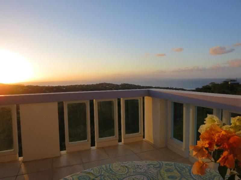 Sunset on the terrace overlooking the vast sea! What a great way to relax after our busy day.