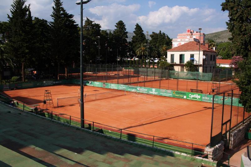 nearby tennis court
