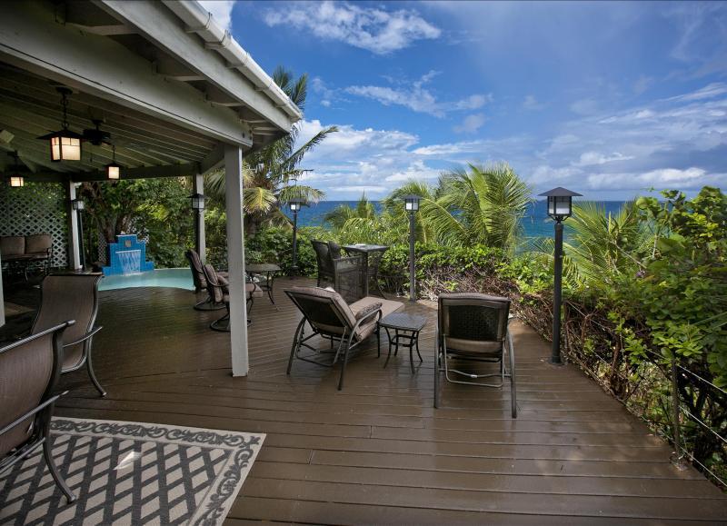 The poolside, beachfront deck (private) of Sundowner Villa, Virgin Gorda, BVIs.