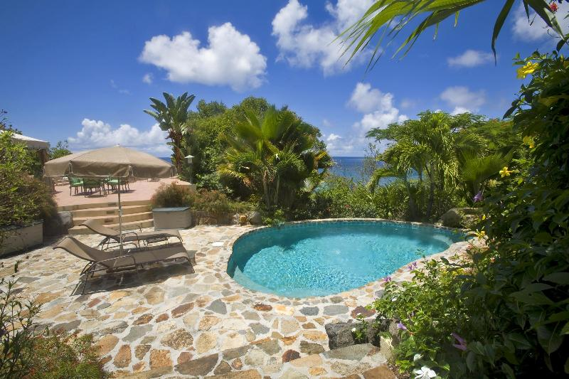 Views of the Dogs and Nail Bay from the pool at Sunset Watch Poolside Villa, Virgin Gorda.