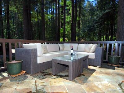 Fairway Woods, beautiful deck under the redwoods