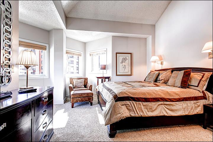 Master Bedroom Includes a King Bed, Private Bath, Flat Screen TV, and Private Balcony
