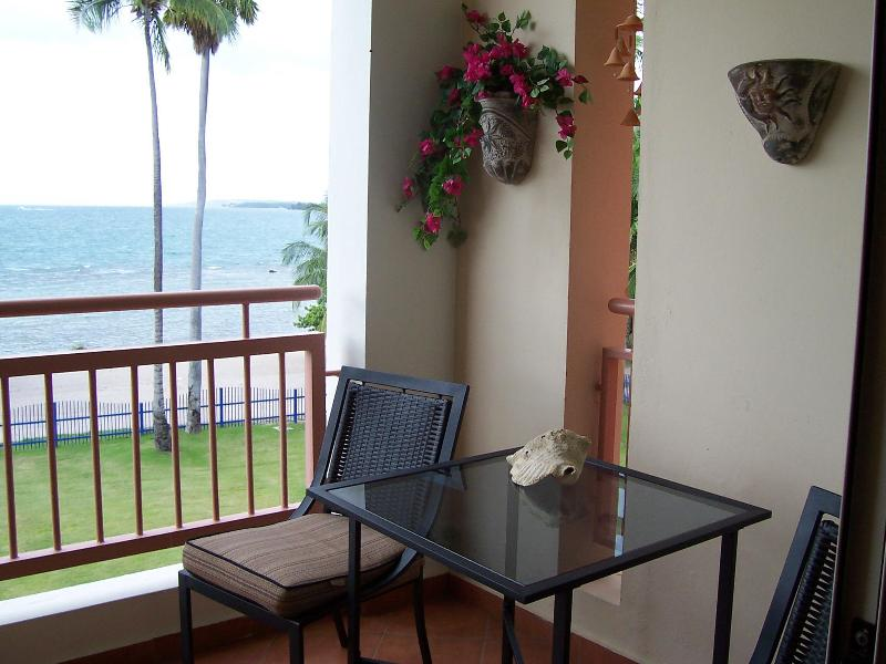 Balcony bistro set with impressive ocean view