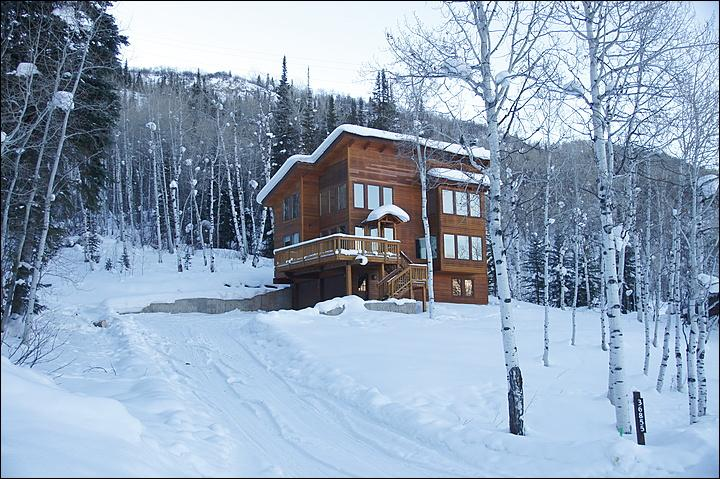 Winter Exterior View - The home is surrounded by mature forest