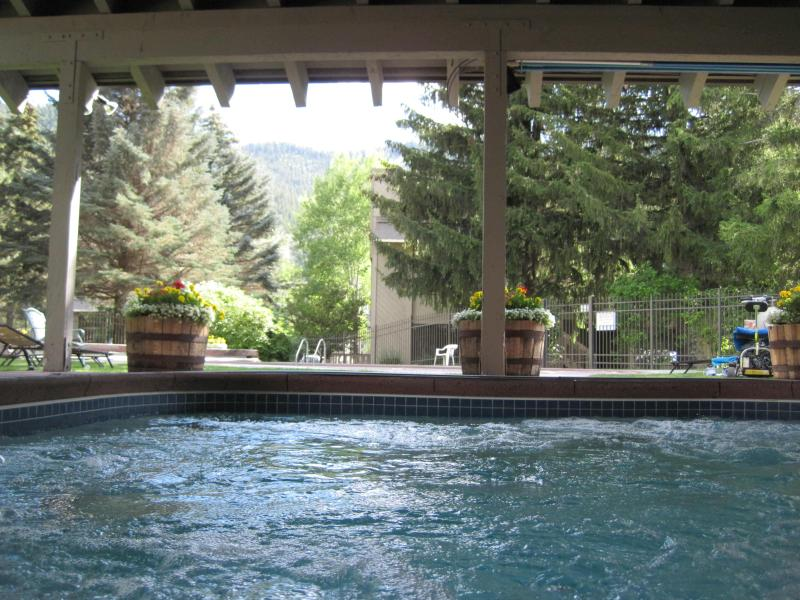Outdoor hot tub - open year round, covered