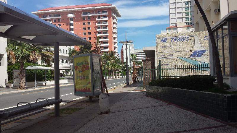 From Condado to OSJ bus stop across street, OSJ to Condado bus stop in front of bldg (left)