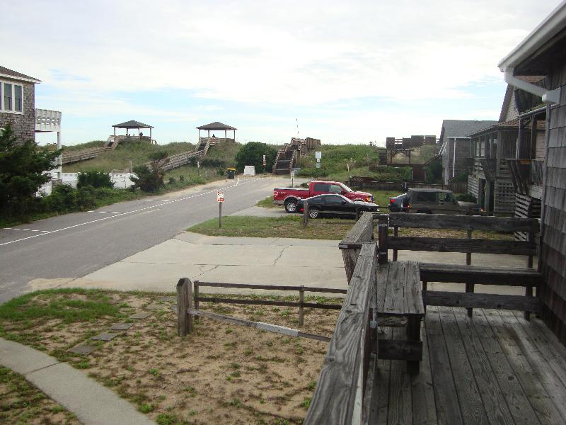 View of beach access from cottage deck