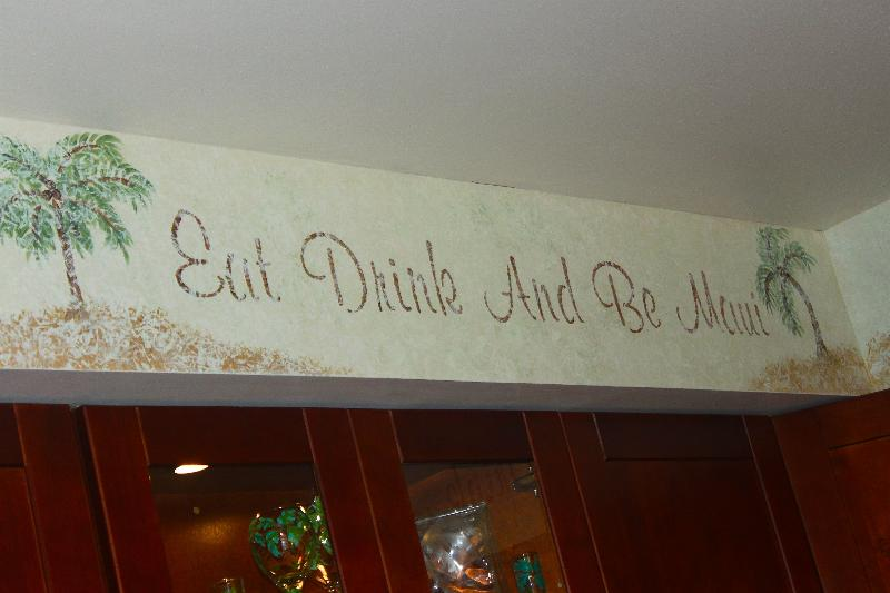 Custom Paint says it all....eat, drink and be Maui! Dishwasher, disposal, glass top stove.