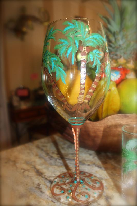 Custom designed and painted glasses to toast with!