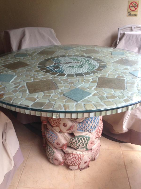 custom mosaic tiled table