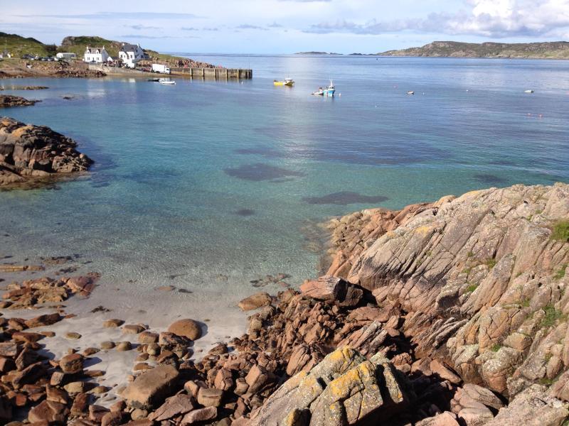 Uitzicht vanaf rechts van cottage strand juli 2012