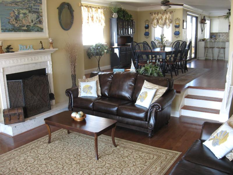 Open view of Family room  to dining room